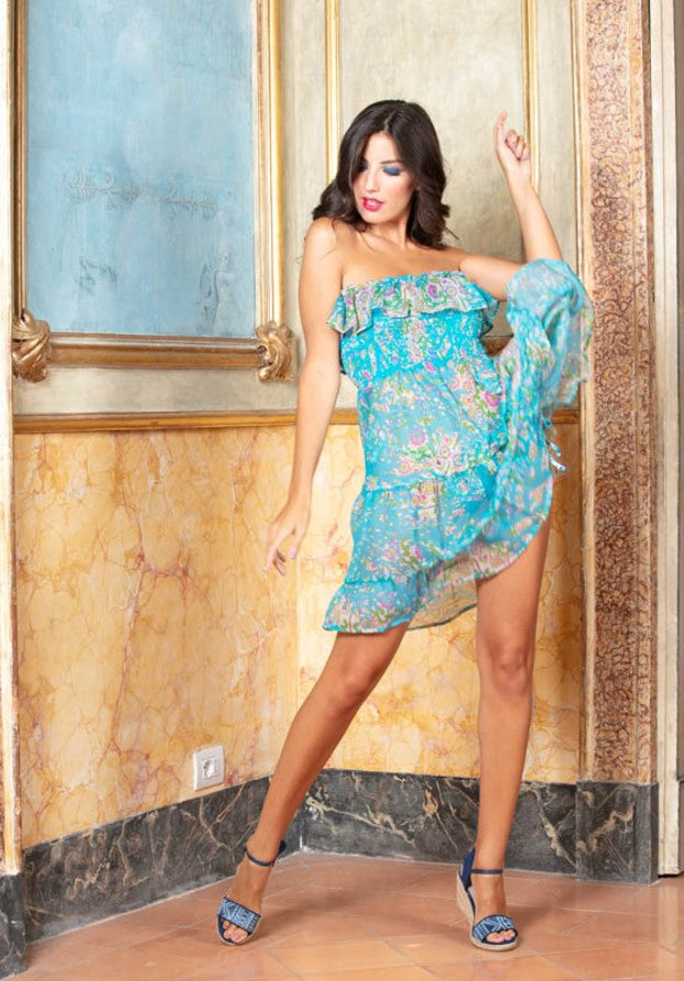 Print Chiffon Bandeau Dress Maldives