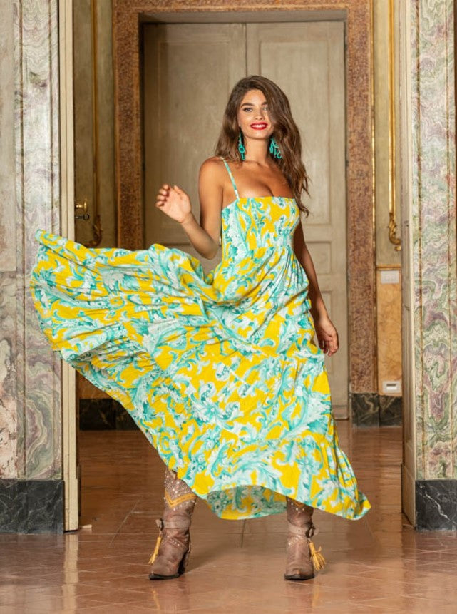 Bandeau Maxi Dress fiji in yellow print