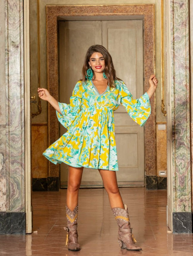Antica Sartoria Sorrento Tunic in Yellow print