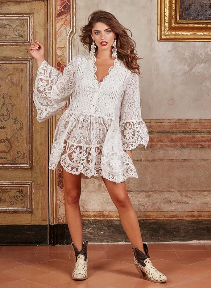 White Antica Sartoria Loretta Lace Tunic dress