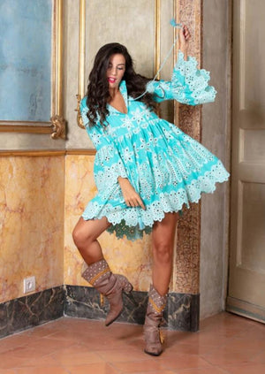 Aqua EMBROIDERED DRESS Marbella