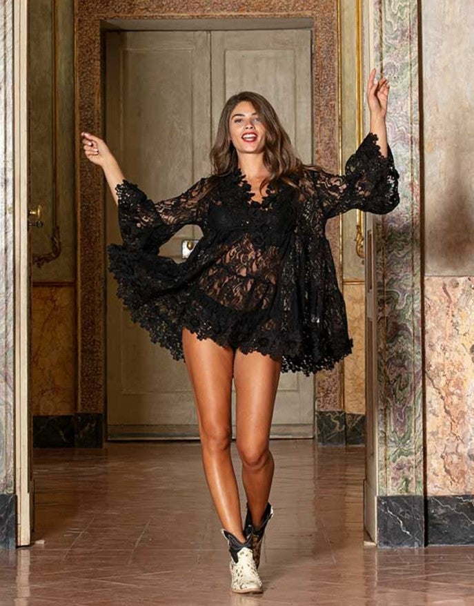 Antica Lace Dress Amalfi in black
