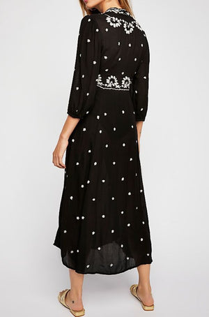 Embroidered V Maxi Dress Fable