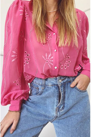 Embroidery Elise blouse in Flamingo