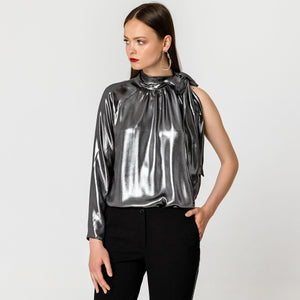 Pussy-bow cutout metallic pewter blouse