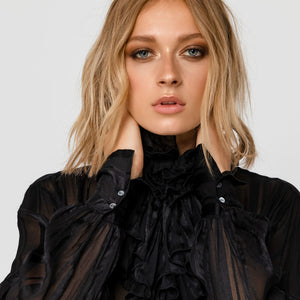 BLACK RUFFLE SHEER blouse