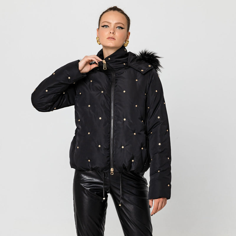 Studded Puffer jacket in Black