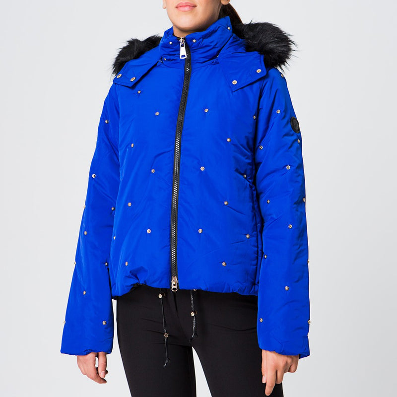 Studded Puffer jacket in Electric Blue