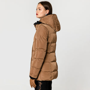 REVERSIBLE PUFFER JACKET CAMEL/BLACK