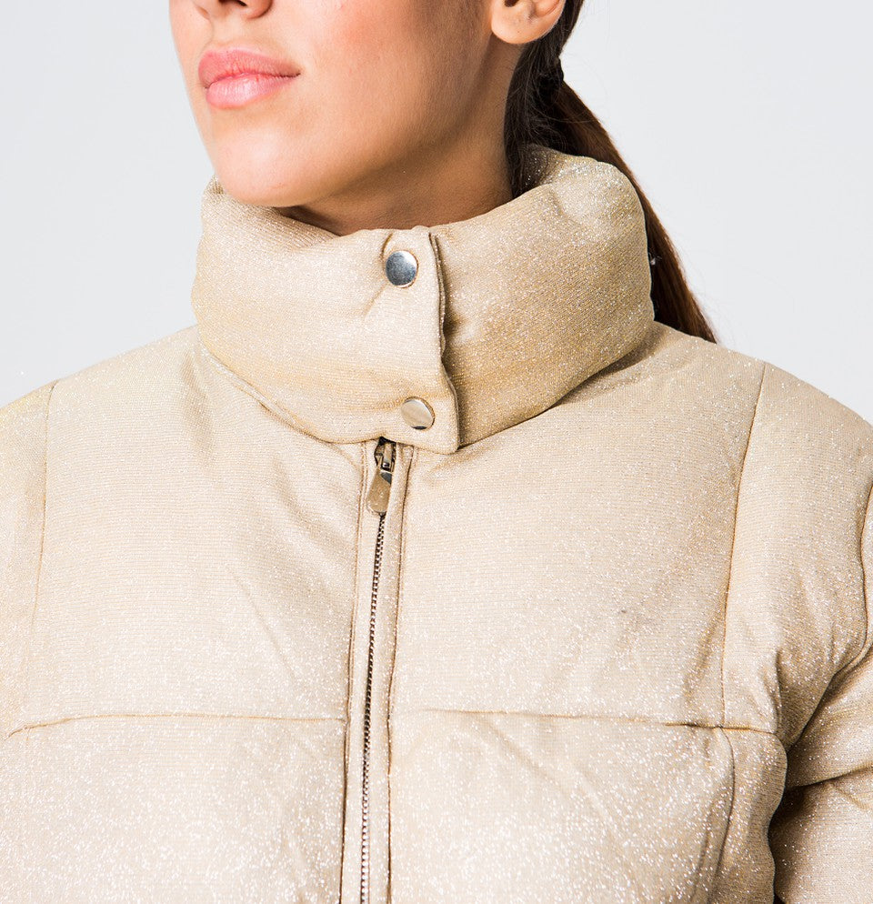 Metallic quilted jacket in Gold