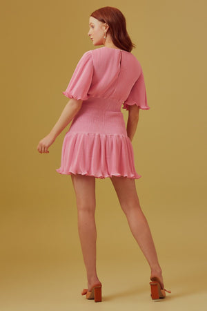 Clarity Mini Dress in pop pink