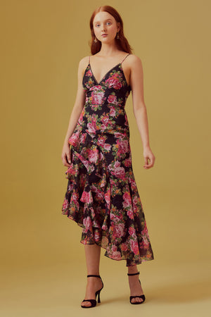 Oblivion Midi Dress in Black rose floral | Keepsake | OutDazl