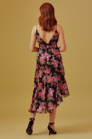 Oblivion Midi Dress in Black rose floral
