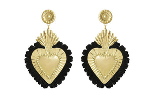 Gold Hearts Earrings with Black Fringe