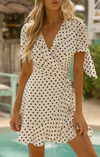 Ella WRAP DRESS with statement sleeves