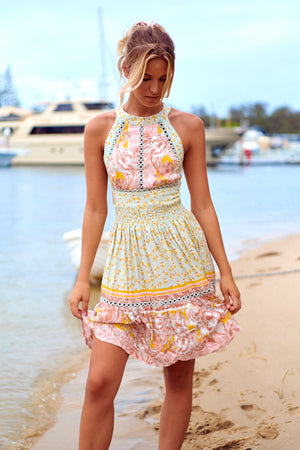 Halter neck Mini Dress Peony in Maisha print