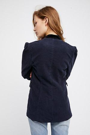 Free People Seamed and Structured Velvet Blazer in Navy