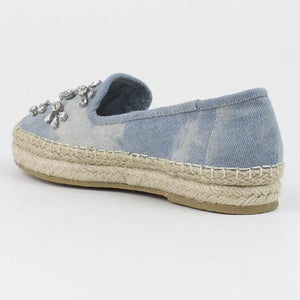 denim slip ons by XTI shoes
