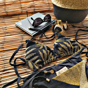 Triangle Cross Stitch Bikini Set - Ferns Gold
