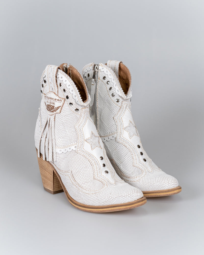 Leather Ankle Boots in Ivy Kalahari White