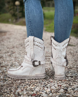 Yara Studded Leather Wedge Boots in Kalahari white