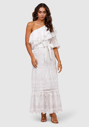 Splendour Embroidery One Shoulder Dress
