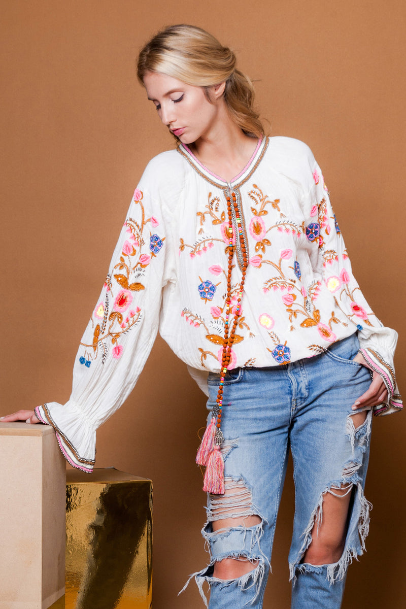 Diamond For Eden Beaded Embellished Blouse