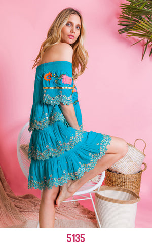 Off Shoulder Embellished Ruffle Dress Mykonos