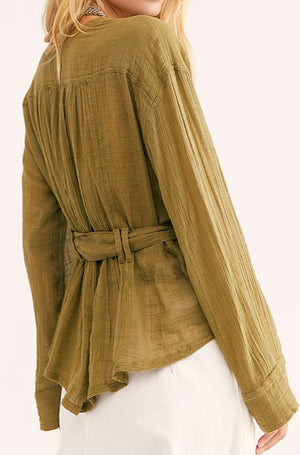 Safari Sheer Wrap Top in Olive