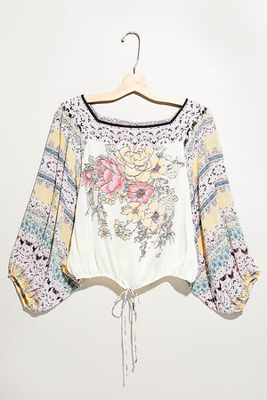 Blue Nile Print Dolman Sleeve Silky Top