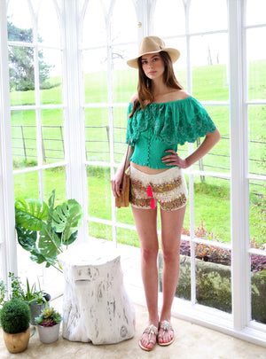 Overlay Embellished Top Lanie with ruching in Green