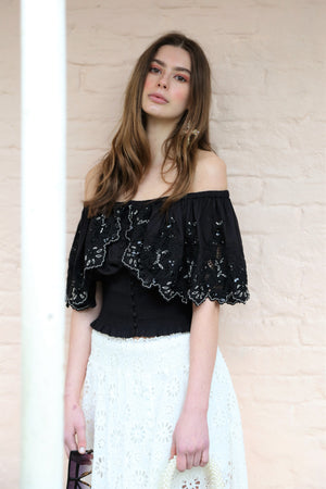 Overlay Embellished Top Lanie with ruching in Black