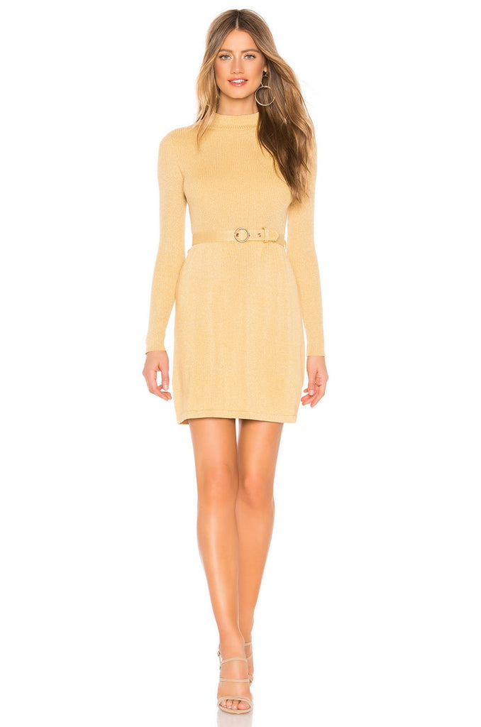French Girl Mini Sweater Dress in Gold