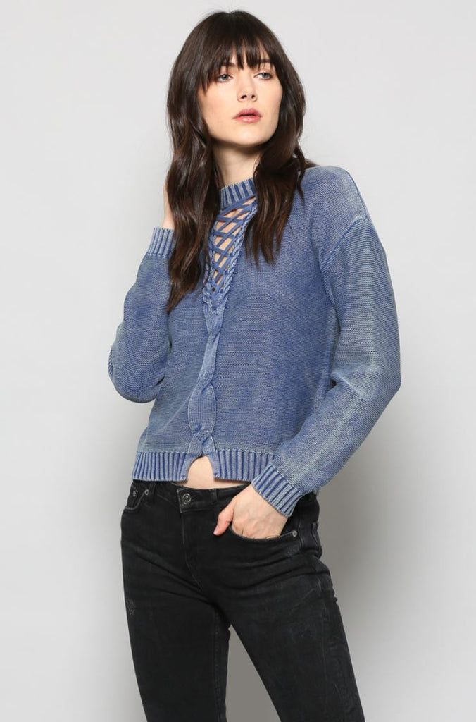 Lace up cotton Jumper IN washed blue