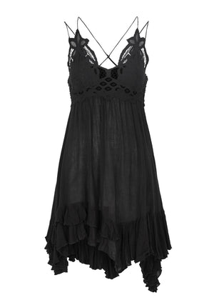 Free People Adella Slip Dress in Black