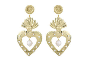 Gold Hearts Earrings with Pearls