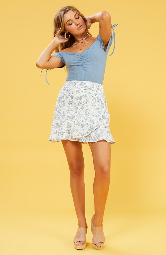 Skye blue print MINI SKIRT