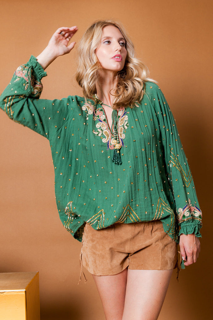 Diamond For Eden Embellished long sleve BLouse