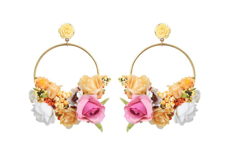 Flower Hoop Earrings Multi color Yellow
