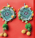 Round Tassel Earrings  in Green Multi