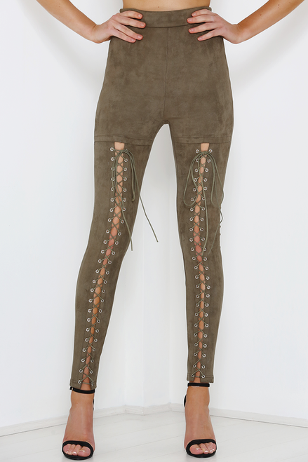Rebound Suede lace up Leggings in Khaki