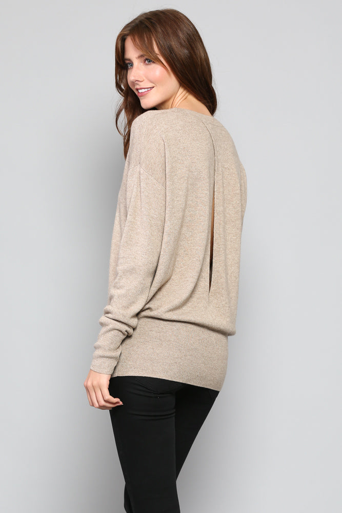 Cashmere and wool Sweater with back Keyhole detail