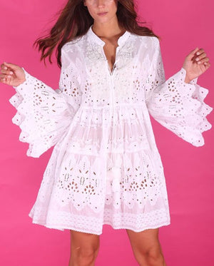 White EMBROIDERED DRESS wanderlust