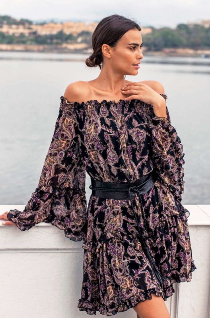 Miss June Off the shoulder Paisley Print dress Lulu