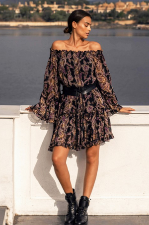 Off the shoulder Paisley Print dress Lulu