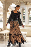 Animal print Maxi Skirt kRUGER WITH BLACK LACE TRIM