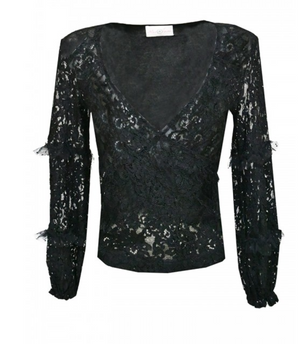 Miss June black lace Wrap Top Sidonie