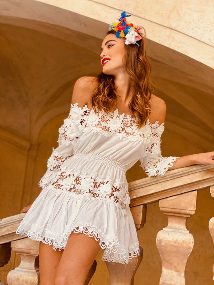 Off Shoulder Lace insert Mini Dress Cerutti in White