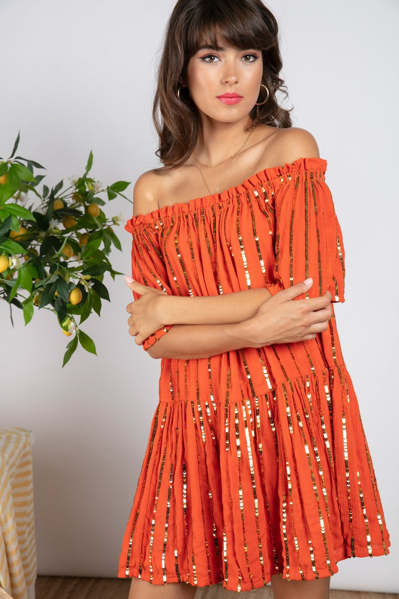 Bella Short off shoulder dress with sequins