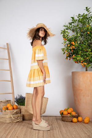 BELLA SHORT DRESS FOUTA CURCUMA
